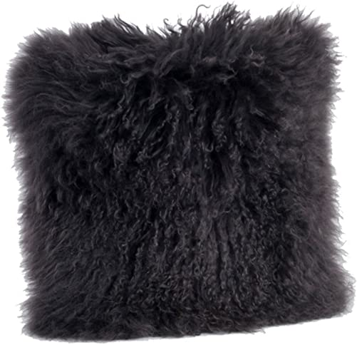 Occasion Gallery Dark Grey Color Real Mongolian Lamb Fur Pillow, Filled. 20 Inch Square