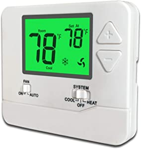 Heagstat H701G Non-Programmable Electronic Thermostat, Up To 1 Heat/1 Cool, with 4.5 sq. Inch Green Display