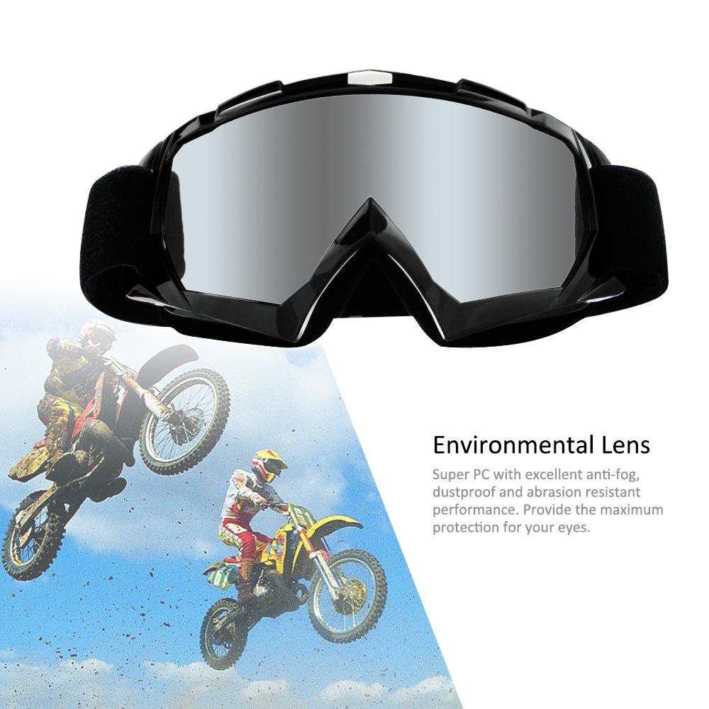 4-FQ Motorcycle Goggles Dirt Bike Goggles Anti UV Safety Goggles Anti Scratch Motocross Goggles Dustproof Motorcycle Glasses Motorbike Goggles for Cycling Riding Climbing Skiing-Sliver Lens