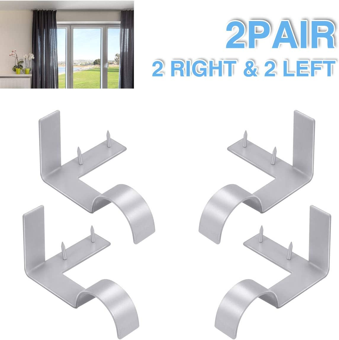 Single Curtain Rod Brackets - Silver, 2 pair 4 PCS Curtain Rod Holder Set, Decoration for supporting Single Rod Curtain in Bedroom & Home, tap in Window Frame (Include Fixed Screw free from Drilling)