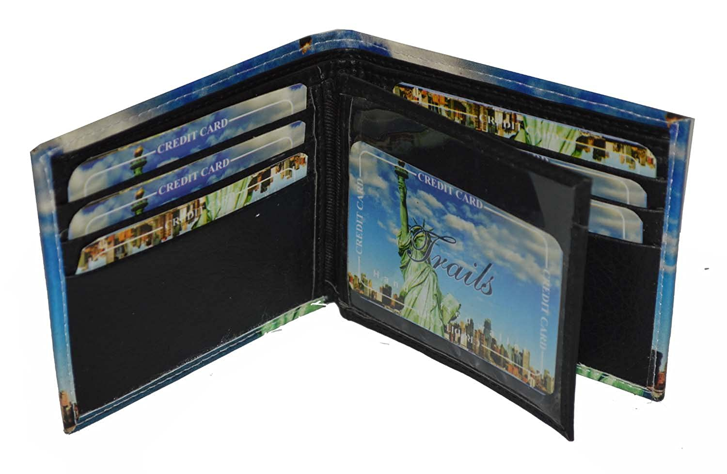 Mens Bifold Exotic Wallet Picture New York Skyline with printed gift box.