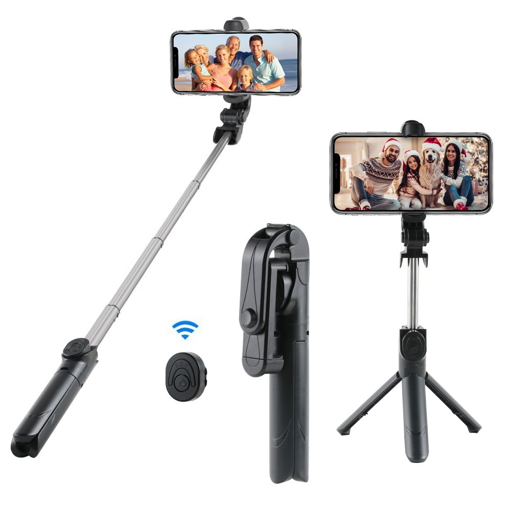 Bluetooth Selfie Stick and Tripod, Trippix Extendable Selfie Stick with Wireless Remote and Tripod Stand for iPhone X/iPhone 8/8 Plus/iPhone 7/iPhone 7 Plus, Extendable 360° Rotation Phone Holder