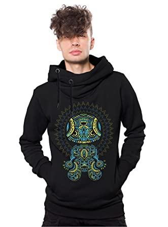Men's Heavy Urban Pullover Hoodie Cowl Neck Mandala Print Psy Trance Festival Pullover - Psychedelic Hooded Sweatshirt - Festival Clothing 7fwh70JySS