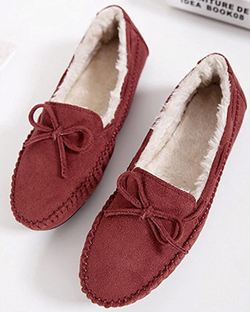 Minetom Mujer Otoño Calentar Plano Zapatos Suave Peluche Forro Mocasines Shoes Zapatos Del Barco Con Bowknot: Amazon.es: Ropa y accesorios