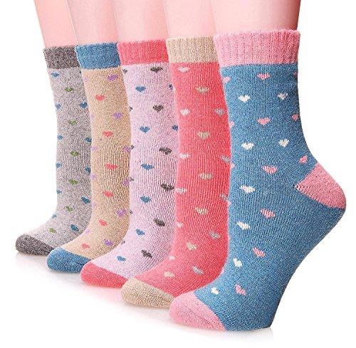 EBMORE Women Cute Fashion Thick Casual Soft Warm Crew Winter Wool Socks 5-Pack - Heart A Cute