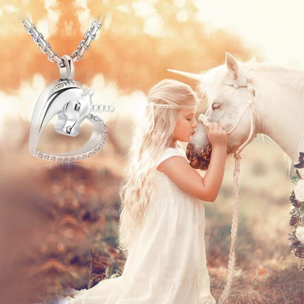 Unicorn Cremation Jewelry For Pet Keepsake Urn Necklace Hold Memorial Ashes