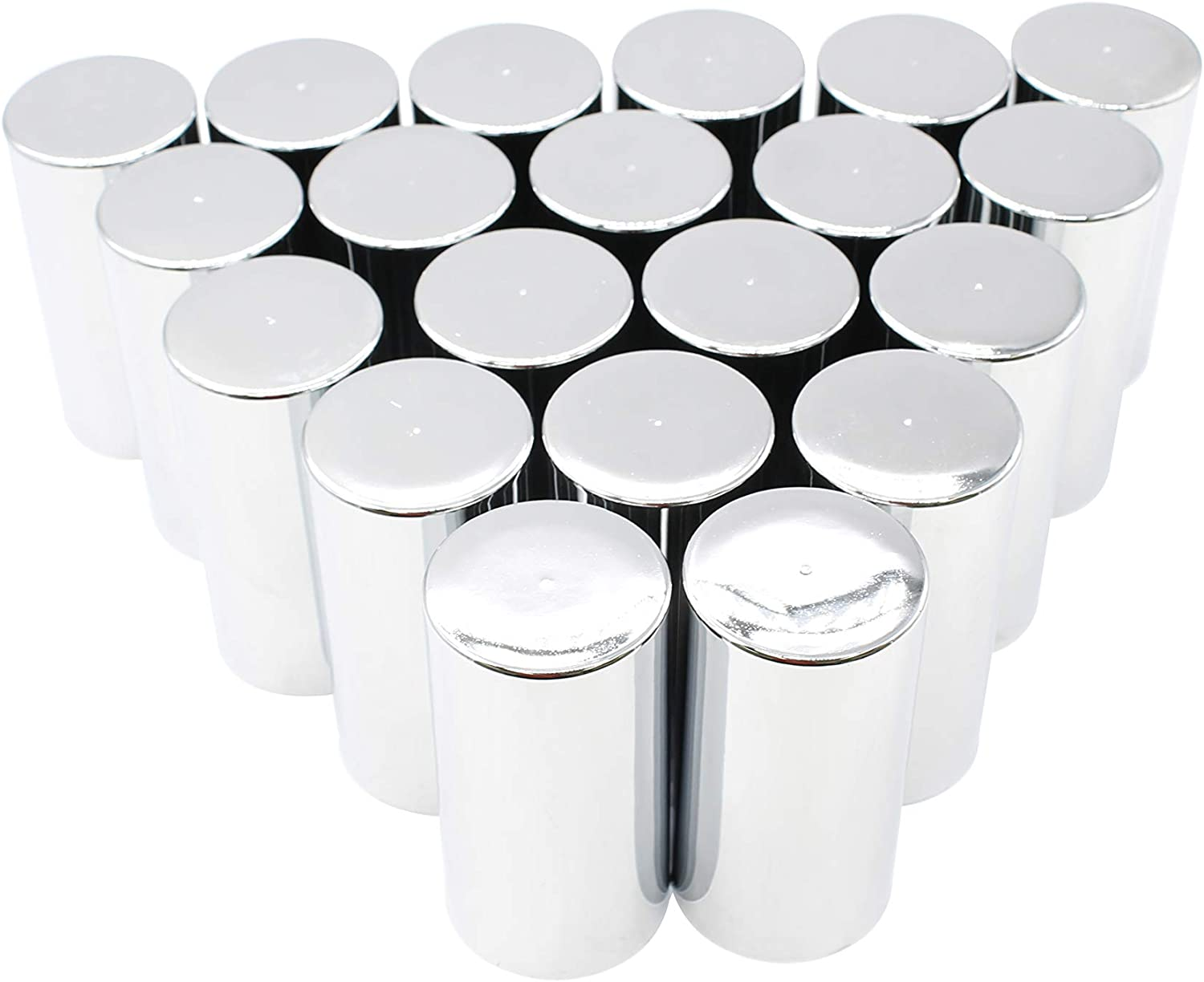 """pack of 10 Cylinder Flat Top 33mm chrome lug nut cover Thread-on 3-1//2/"""""""