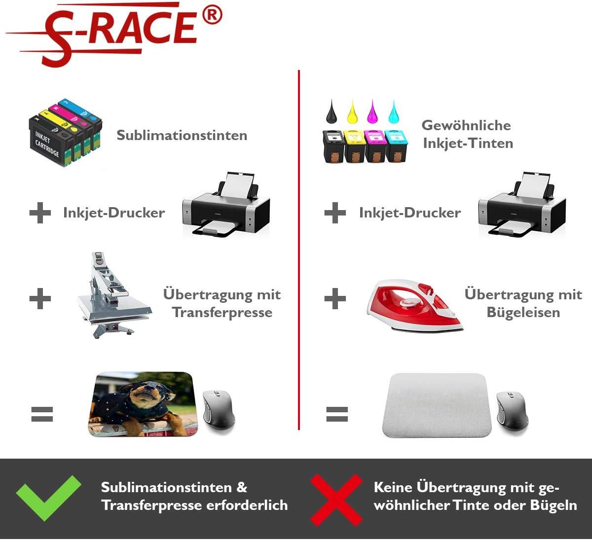 S-RACE Papel de sublimación A4, paquete de muestras, 20 hojas, 120 g/m2 – adecuado para impresoras de inyección de tinta con tinta de sublimación – secado rápido, resistente a manchas: Amazon.es: Oficina