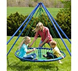 Sky Island Special - Includes Giant Hanging Spinning Platform Swing, Stand, Cushion, and Protective Teepee Cover, 400 lb Max Weight