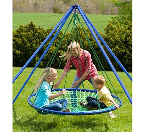 HearthSong® Sky Island Special - Includes Giant Hanging Spinning Platform Swing, Stand, Cushion, and Protective Teepee Cover, 400 lb Max Weight