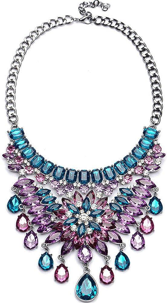 QXLDM Collar de la joyería de Las Mujeres Aleación Cristal Piedras Preciosas Collar Cadena de suéter