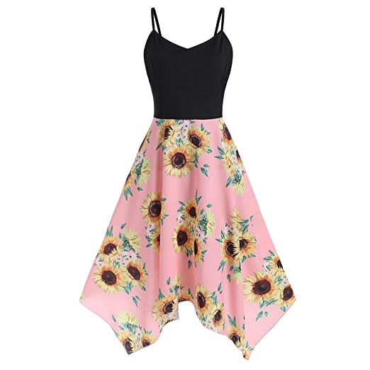FEITONG Womens Plus Size Dresses Sunflower Print Sleeveless ...