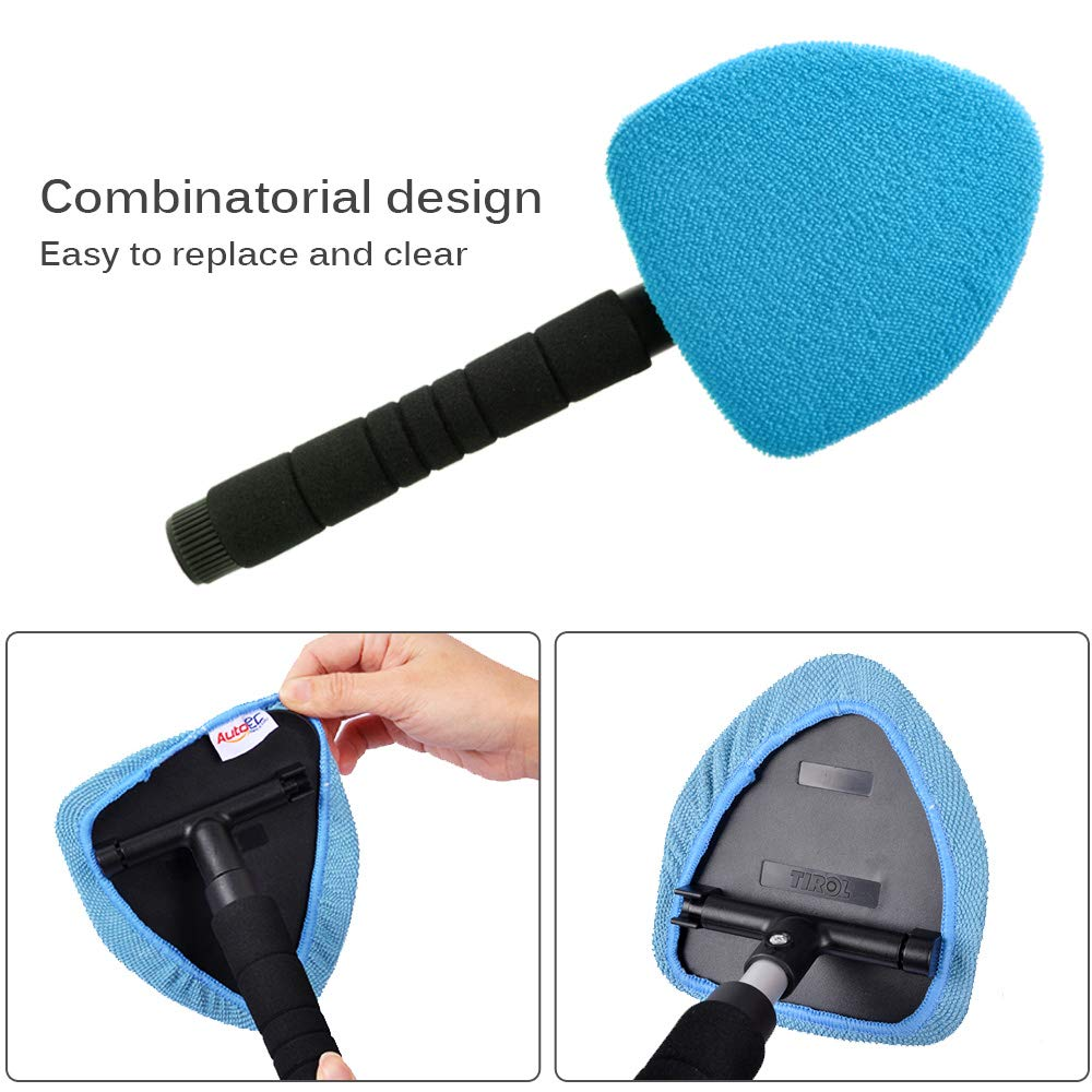 AutoEC Auto Car Windshield Cleaner, Extendable Handle Window Cleaner Brush Kit Comes with 4 Packs Washable and Reusable Pads(2 Wet Use 2 Dry Use) by AutoEC (Image #6)