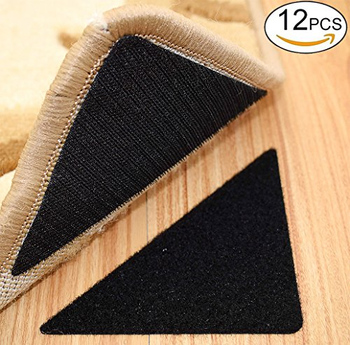Rug Anchors , Double Sided Adhesive Hook and Loop Buckle Nylon Button Staircase Floor Carpet Non-slip Mat Anti-skid Stickers Triangle (12PCS, (Rug Strip)