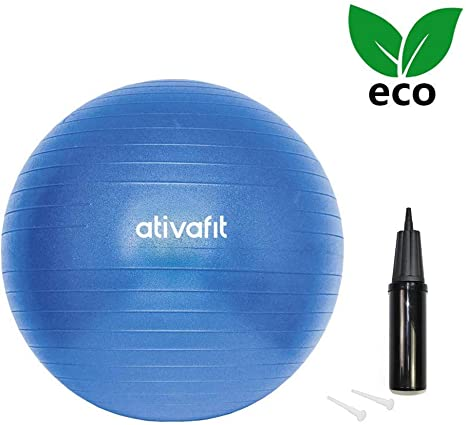 ATIVAFIT Pelota de Ejercicio Anti-Burst para Yoga, Equilibrio, Fitness, Entrenamiento, incluidos Bomba - 55cm Azul: Amazon.es: Deportes y aire libre