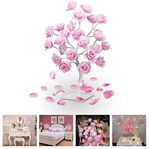 LUCKSTAR LED Rose Tree Lamp – 1.5ft 24 LED Rose Tree Desk Light Adjustable Pink Rose Tree Table Lamp Light for Christmas Dating Party Wedding Living Room Bedroom Party Home Decor