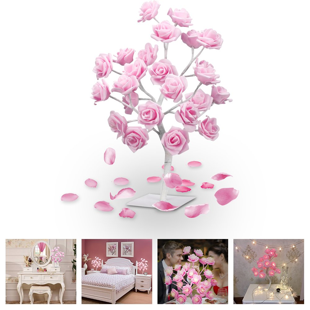 LUCKSTAR LED Rose Tree Lamp - 1.5ft 24 LED Rose Tree Desk Light Adjustable Pink Rose Tree Table Lamp Light for Christmas Dating Party Wedding Living Room Bedroom Party Home Decor