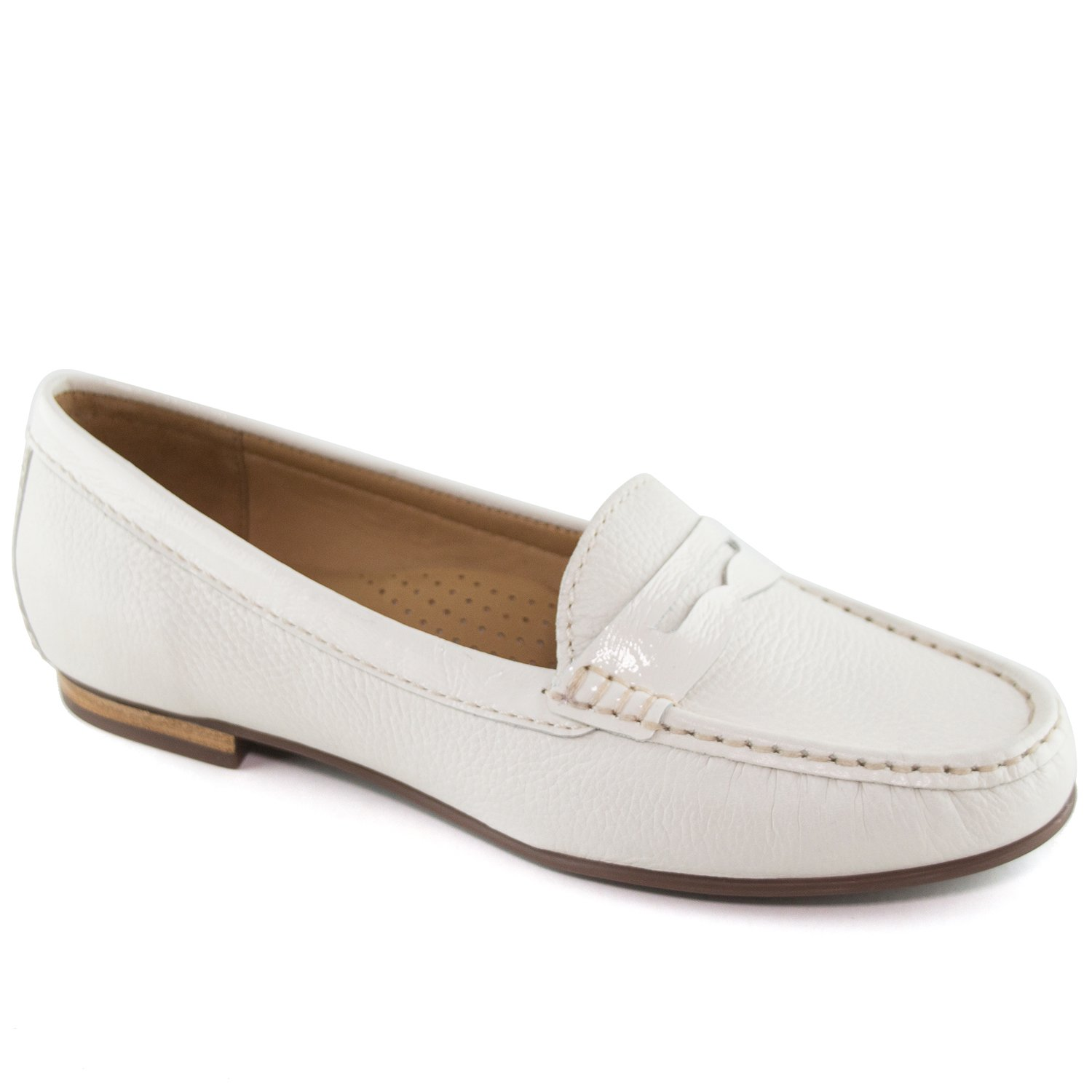 Driver Club USA Women's Genuine Leather Made In Brazil Greenwich Fashion Cream Grainy Penny Loafer 6.5