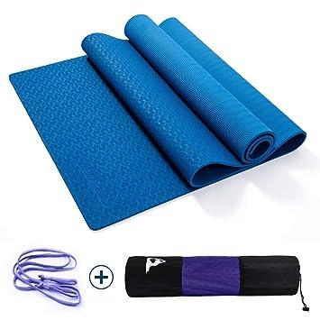 WYQWAN Estera De Yoga - TPE Gym Mat, Antideslizante, De 6 Mm ...