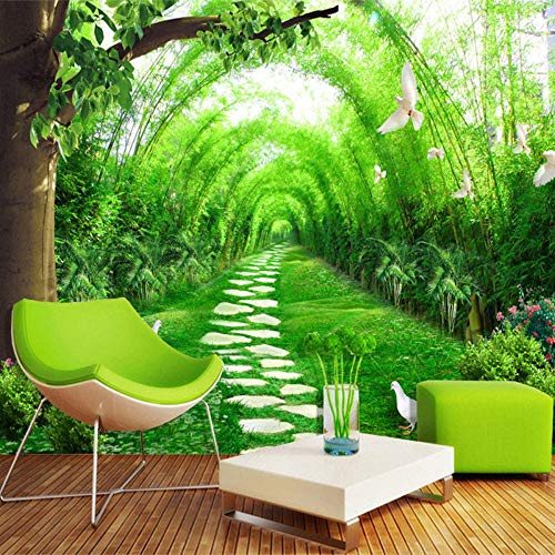 Murals,Custom 4D Wallpaper Landscape Style Bamboo Forest Stone Road Tree Flower Art Print Wall Painting Poster Picture Photo Hd Print For Large Tv Backdrop Bedroom Living Room Wall Decoration Silk Mur