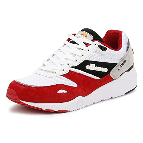 Ellesse Hombres Blanco/Rojo/Gris LS360 Ante Zapatillas: Amazon.es: Zapatos y complementos