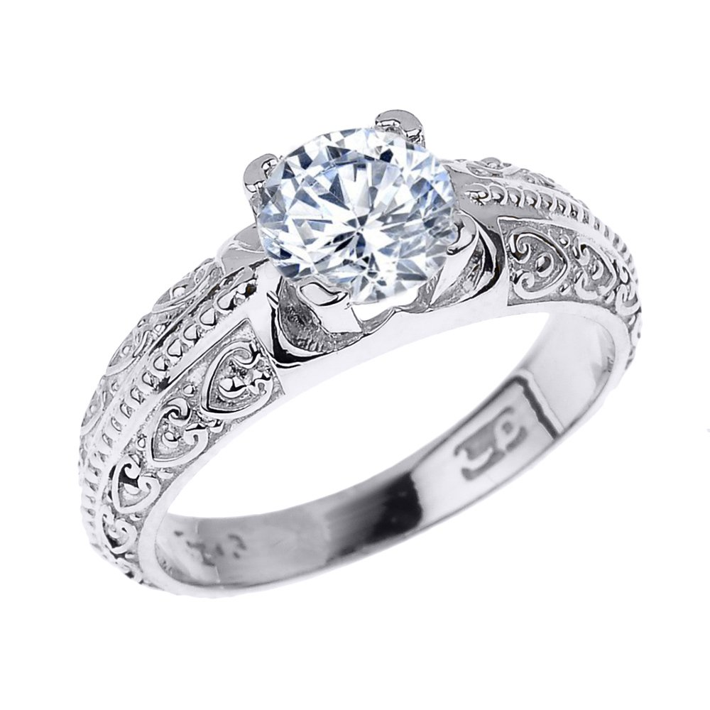 Solid 10k White Gold Art Deco CZ Solitaire Engagement Ring (Size 6.25)