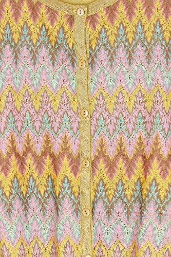 Gilet boutonné col rond en maille lurex, brodé de motifs ethniques Generica - XLF1002 – JAUNE – T1