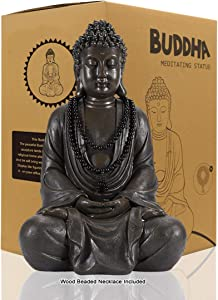 Meditating Zen Buddha Statue Figurine Sculpture - Indoor/Outdoor Decor for Home, Garden,with Natural Wood Beaded Necklace, Polyresin, Antique Bronze Look(11.4 inch)