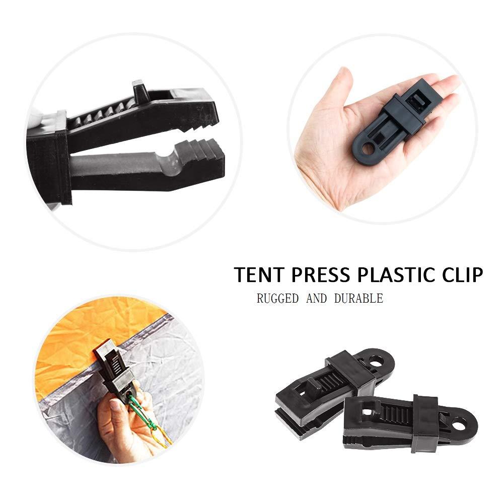 Tente en Plastique Cara Lot de 12 Pinces de Tente en Plastique Noir pour auvents Agriculture Jardin Camping Serrage de Tente pour ext/érieur