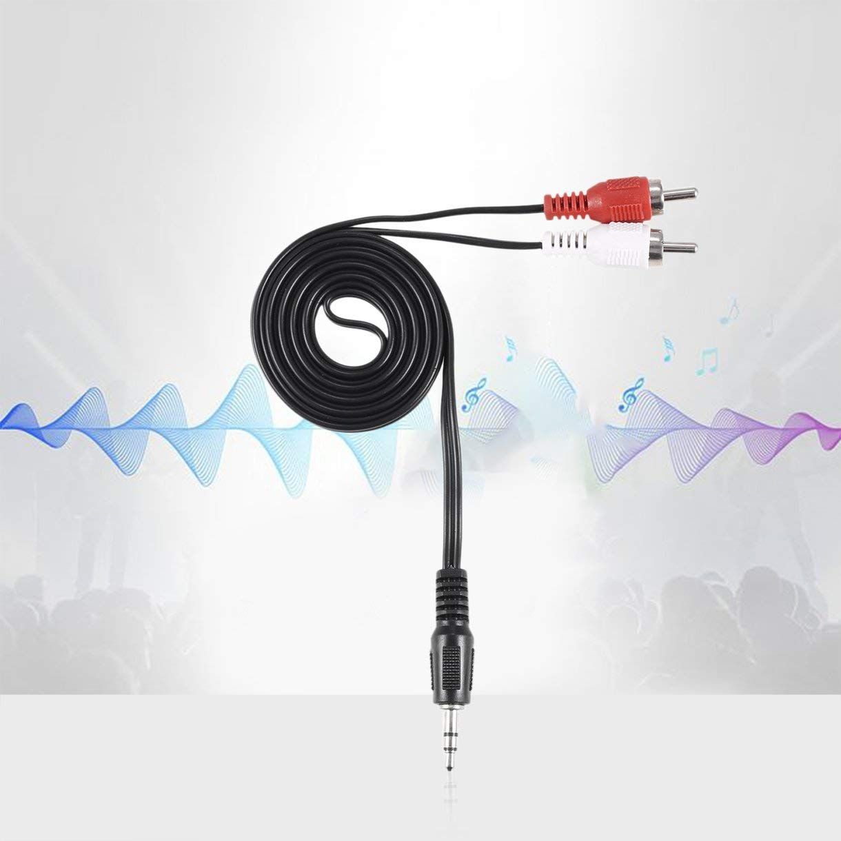 1//8 Inch 3.5mm Plug Jack to 2 RCA Male Stereo Audio Earphone Headphone Headset Y Splitter Adaptor Cable