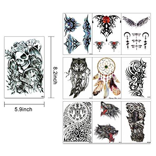 0cb0fa41a9 Large Temporary Men Women Tattoos - Wolf,Tribal,Koi Fish, Skull ...