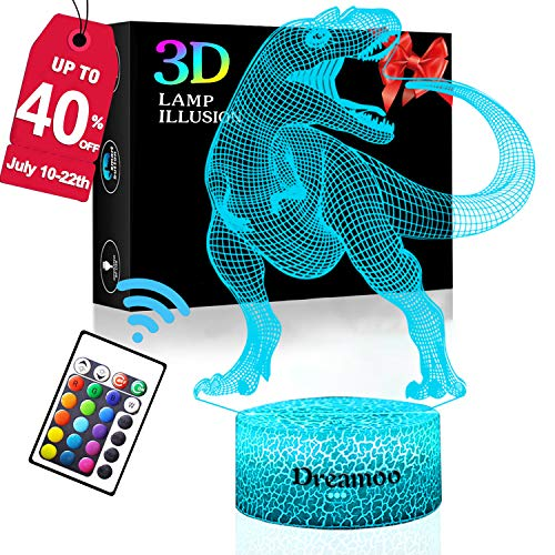 Abs Toy - 3D Illusion Night Light for Kids Dinosaur Lamp 16 LED Colors Change with Remote Control Touch ABS Base Desk Lamp for Boys Girl Mother Holiday Birthday Gift Bedroom Decor