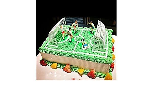 8pcs//Set Soccer Football Cake Topper Player With Goal Gate Birthday Decoration