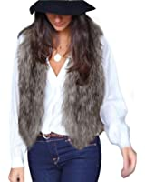 Coversolate Mujeres chaleco sin mangas abrigo chaqueta chaleco de pelo largo chaleco