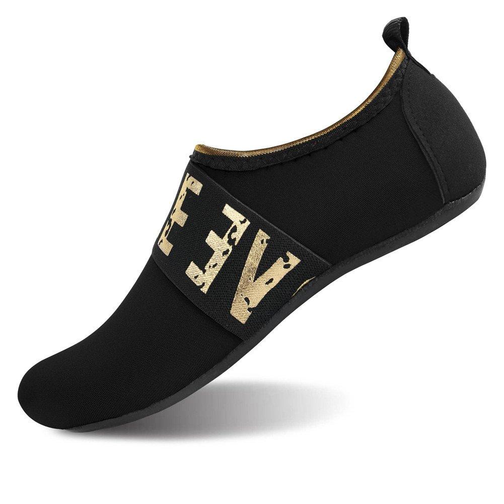 JIASUQI Women's Men's Summer Barefoot Water Shoes for Park Gold Black US 9.5-10.5 Women, 8.5-9 Men