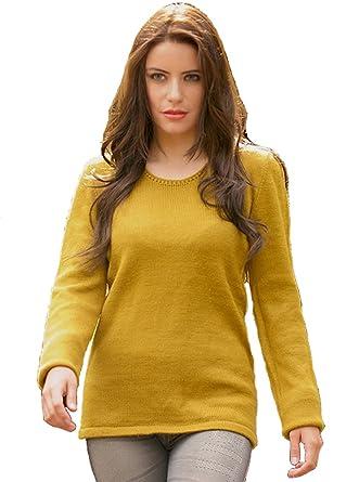 bd9ba178d24bc5 Gamboa Yellow Alpaca Sweater for Women at Amazon Women's Clothing store: