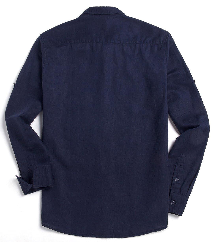 Chouyatou Mens Classic Fit Long Sleeve Button Up Linen Casual Shirt
