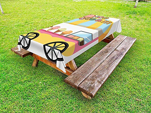 Lohebhuic Graphic Cart Stall with Different Colors and Flavors Tasty Frozen Food Storefront Ice Cream Outdoor Tablecloth Decorative Washable Picnic Table Cloth,49.92