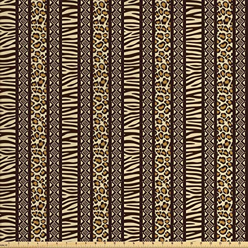 - Lunarable Striped Fabric by The Yard, African Safari Animal Skin Pattern Zebra and Tiger Ethnic Design Borders, Decorative Fabric for Upholstery and Home Accents, 2 Yards, Brown Pale Yellow