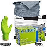 Ammex Gloveworks XL Green Nitrile Heavy Duty Gloves Disposable Latex Powder Free 8 mil (CASE of 1000) GWGN46100-BX + TEN extra LARGE 16 x 16 MircroFiber Cleaning Cloth COMBO