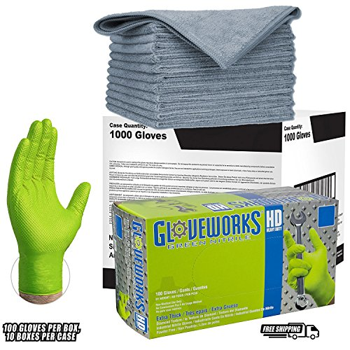 Ammex Gloveworks XL Green Nitrile Heavy Duty Gloves Disposable Latex Powder Free 8 mil (CASE of 1000) GWGN46100-BX + TEN extra LARGE 16 x 16 MircroFiber Cleaning Cloth COMBO by Ammex