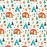 FF92/1 Camping Theme Co-Ordination from Fabric Freedom - 100% Cotton British Designed Craft Fabrics for Patchwork and Quilting Co-ordinated Colours and Prints - (Price per /QUARTER Metre) by Camping