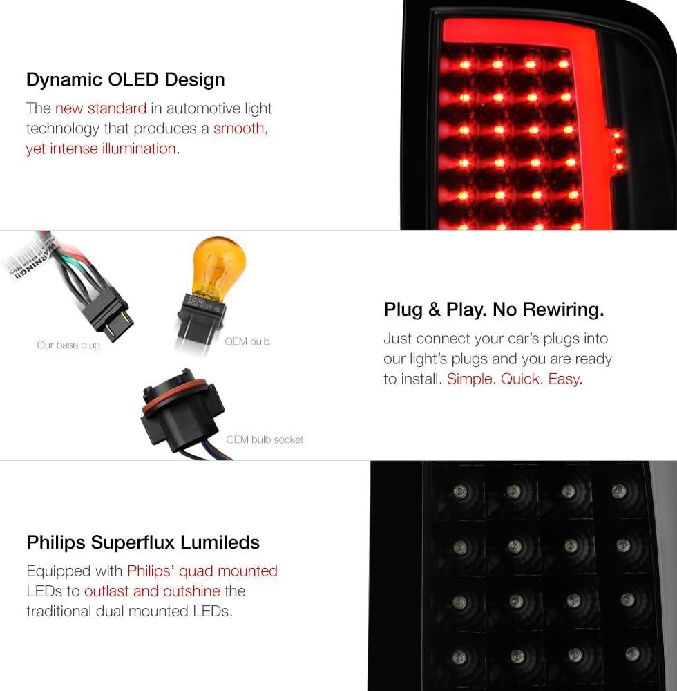 Smoke Lens Factory Incandescent Model VIPMOTOZ OLED Neon Tube Tail Light Lamp For 2009-2018 Dodge RAM 1500 2500 3500 - Driver /& Passenger Side - Matte Black Housing