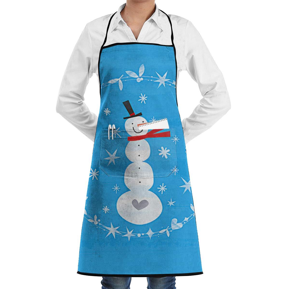 Henhao5 冬用 クリスマス 雪だるま エプロン ポケット付き 防水 調節可能 キッチンエプロン 食洗 グルーミング シェフエプロン   B07KP9W1R9