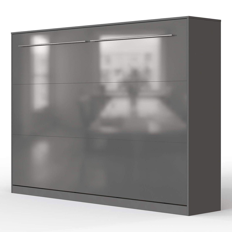 SMARTBett Standard 90x200 Vertikal Weißs Schrankbett   ausklappbares Wandbett, ideal geeignet als Wandklappbett fürs Gästezimmer, Büro, Wohnzimmer, Schlafzimmer Anthrazit Anthrazit Hochglanzfront 140 Horizontal