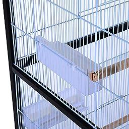 "Pawhut 54""H Bird Flight Cage Stand - Black/White"