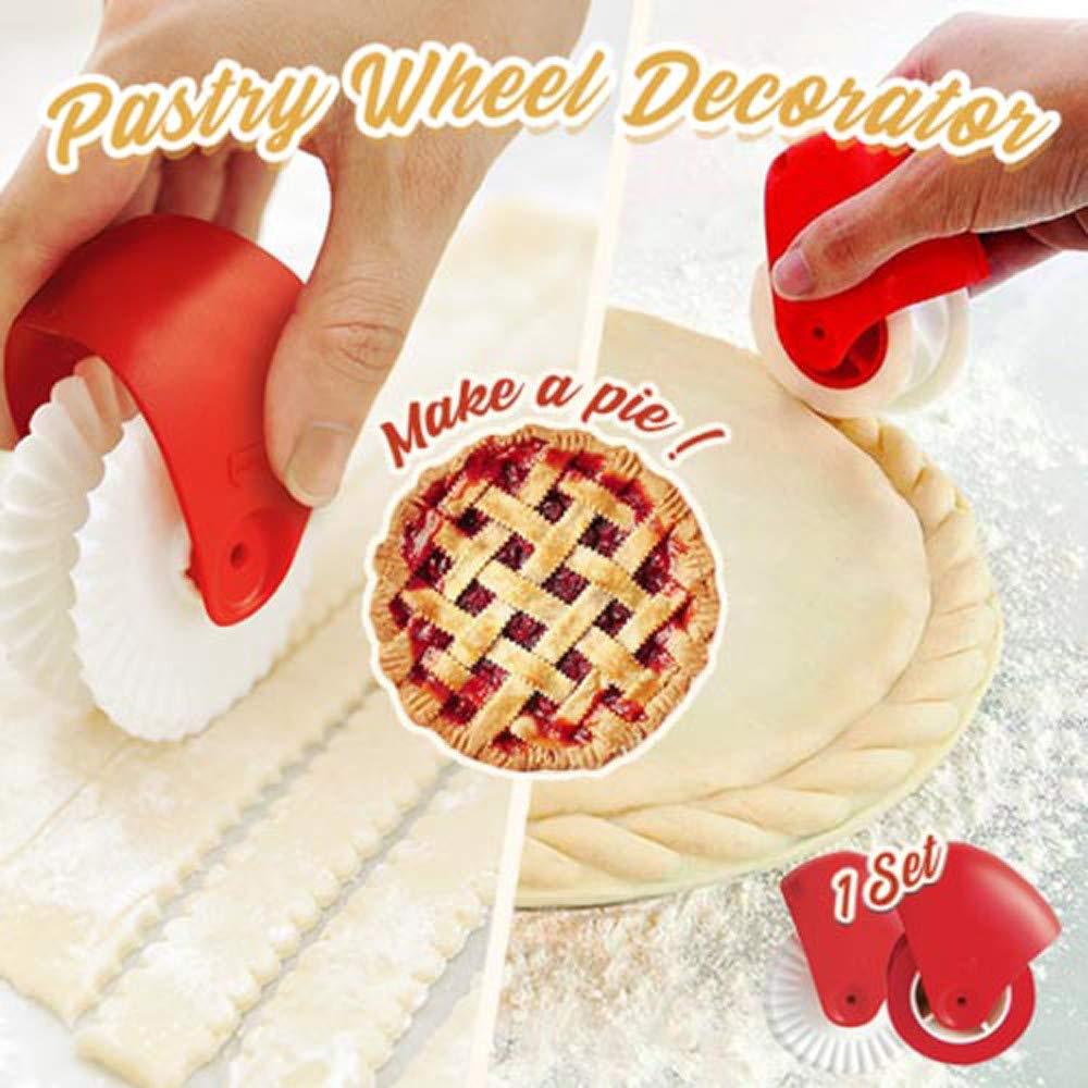 Pizza Wheel Rolling, Matoen Pizza Pastry Lattice Cutter Pastry Pie Decoration Cutter Plastic Wheel Roller (A+B)