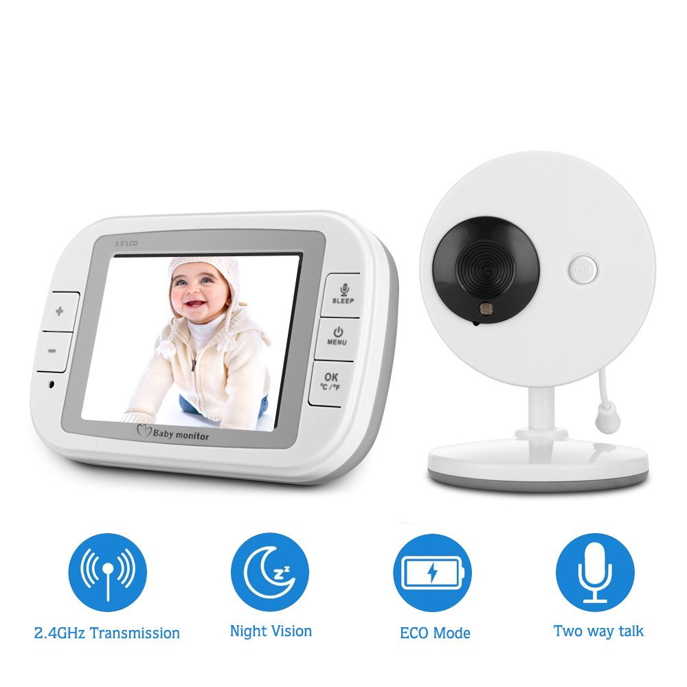 Qniglo Video Baby Monitor with Camera and Audio, 3.5'' LCD Screen Digital Camera with Infrared Night Vision, Two-Way Talk, Lullabies, Temperature Monitoring