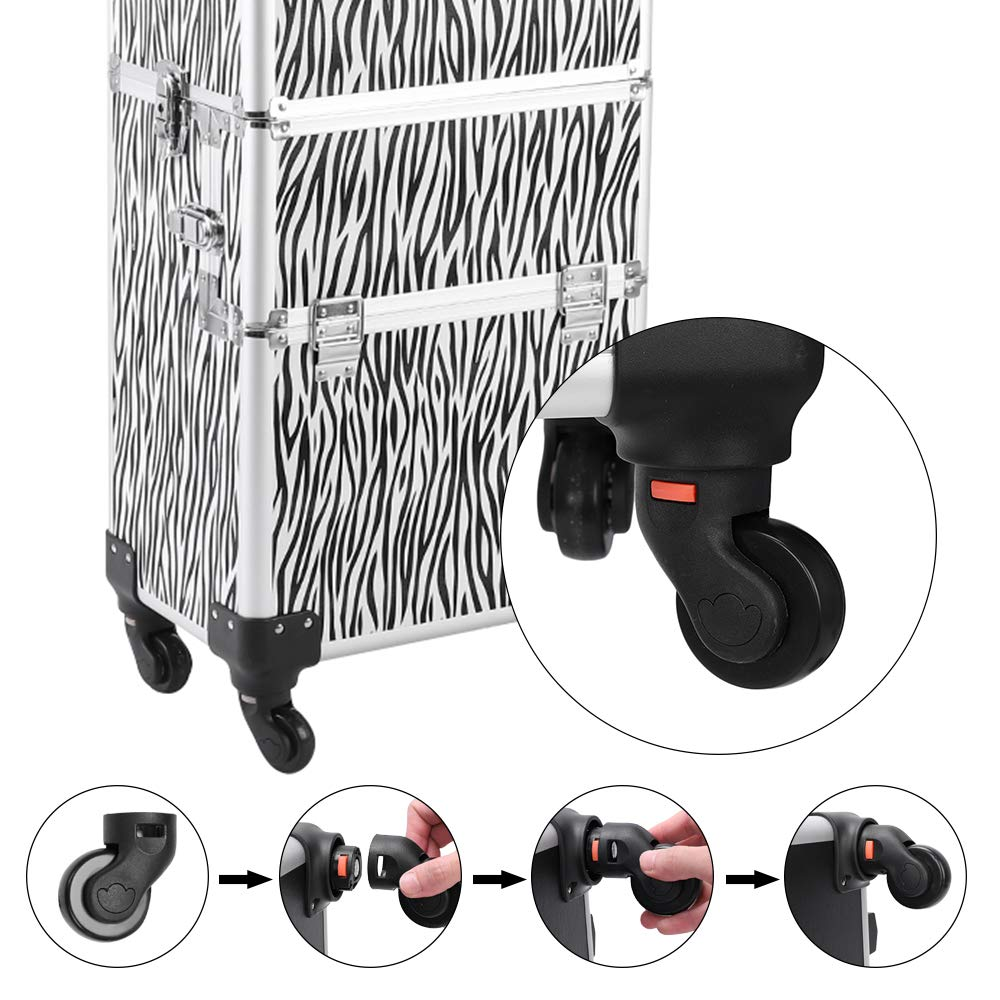 Rolling Makeup Case, St.CHIU 3 in 1 Professional Interchangeable Lockable Aluminum Cosmetic Organizer Storage Train Case Box Trolley White Zebra Print