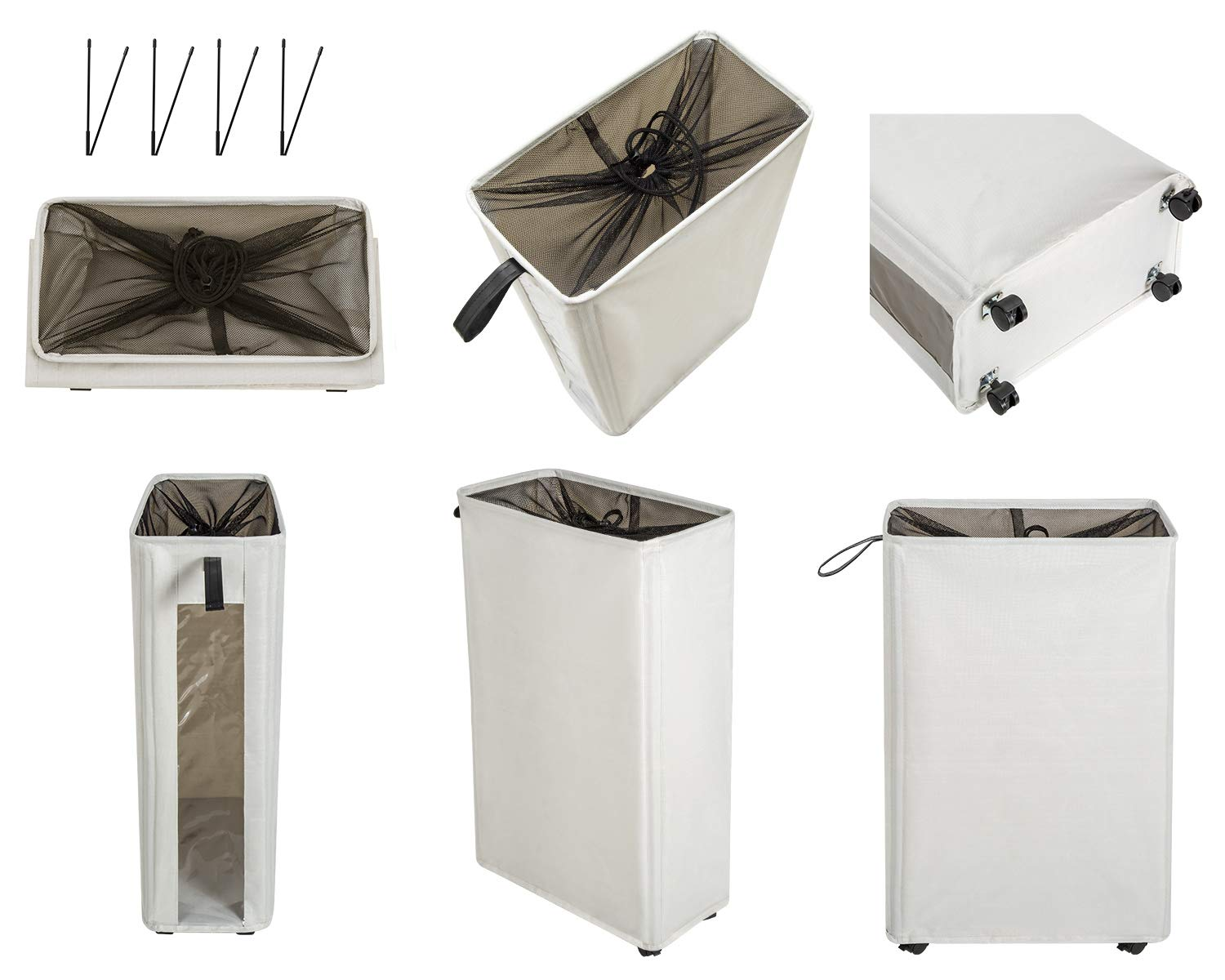 Large Laundry Basket Foldable Slim Laundry Hamper on Wheels Tall Clear Window Visible Dirty Clothes Basket Thin Clothes Storage Standable Corner Bin Handy 16/×8.6/×27 Beige